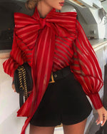 Load image into Gallery viewer, RED MESH STRIPED LANTERN SLEEVES BLOUSE