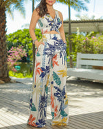 Load image into Gallery viewer, TROPICAL PRINT V NECK SLEEVELESS TOP & PANTS SET