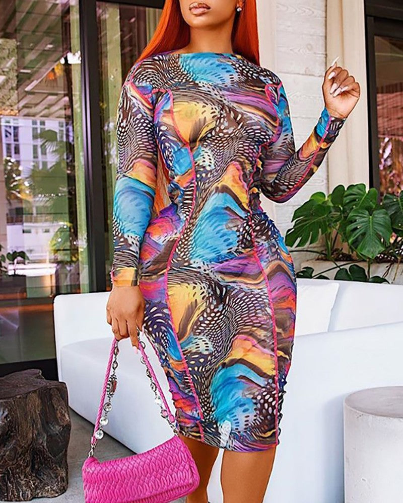 COLORFUL PRINT  RUCHED MESH DRESS