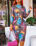 Load image into Gallery viewer, COLORFUL PRINT  RUCHED MESH DRESS