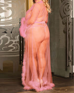 Load image into Gallery viewer, SHEER MESH FEATHER DETAIL ROBE