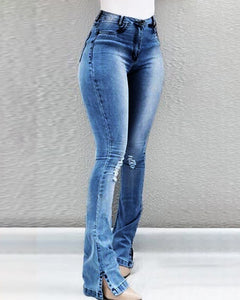 HIGH WAIST RIPPED SLIT BOOTCUT DENIM JEANS