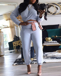 WRAP CROP TOP & HIGH WAIST PANTS SET