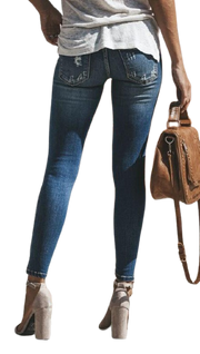 Women Skinny Pencil Hole Jeans