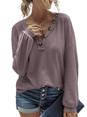 Casual Fashion V-Neck Button Sweater
