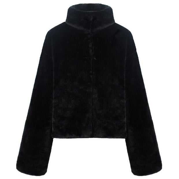 Concealed Button Teddy Coat