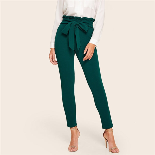 Elegant Frill Trim Bow Belted Carrot Pants