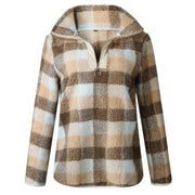 Warm Fleece Plaid Sweatshirt