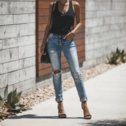 Distressed Denim Hole Jeans
