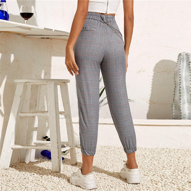 Women's Sexy Plaid Croppred Harem Pants