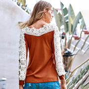 Crochet Long Sleeve Lace Pullover