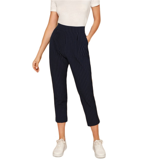 Summer Casual Stripe Workwear Pencil Pants