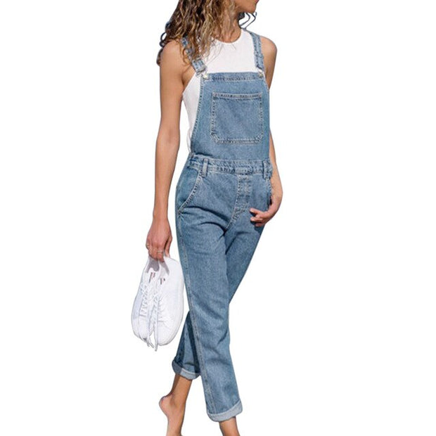 Fashion Denim Belted Overall