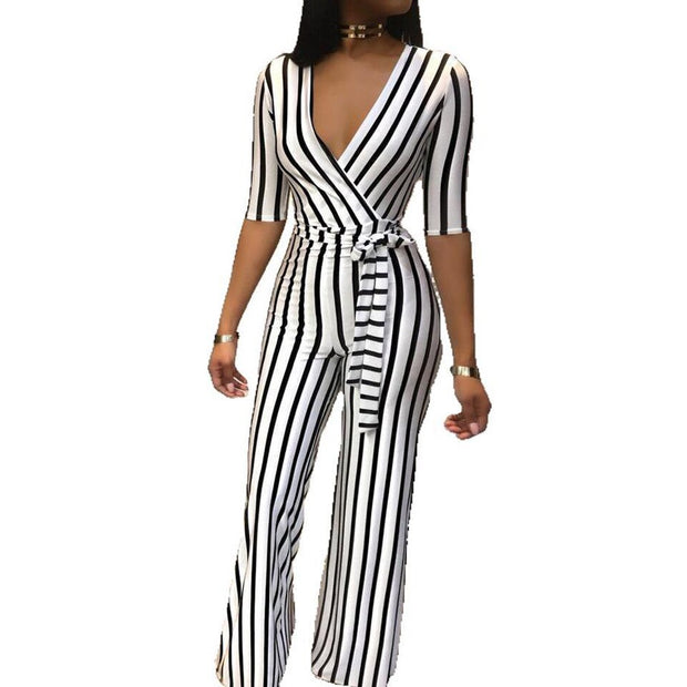 Stripe Slim Half Sleeve Jumpsuit
