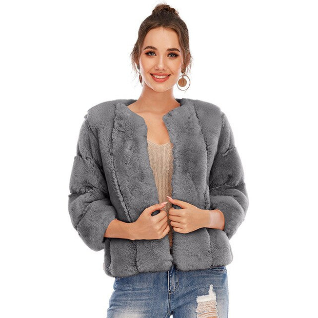 Luxury Fur Silm Thick Jacket