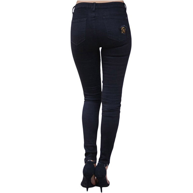 Fashion Slim Hole Leopard Patchwork Jeans