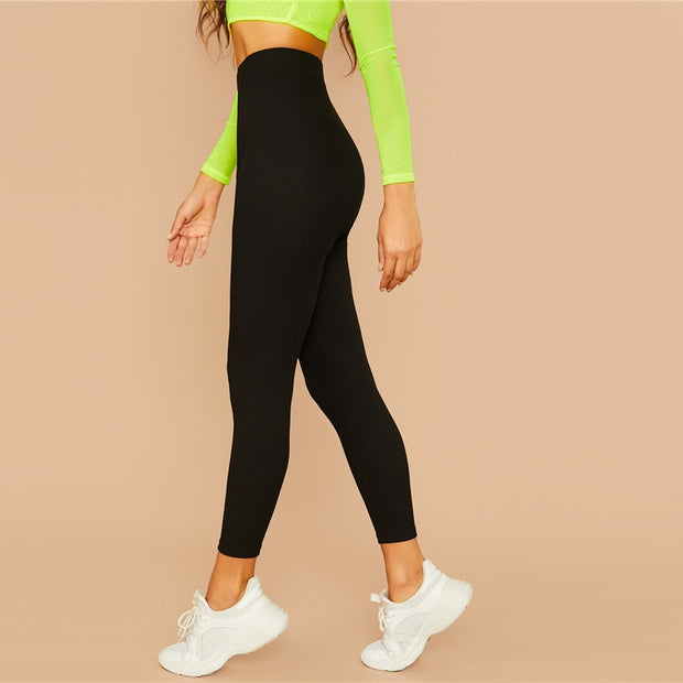 Solid Ribbed Knit Stretch Leggings