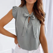 Butterfly Bow Polka Dot Blouse
