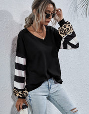 Striped Splicing Long Sleeve Tee Shirt