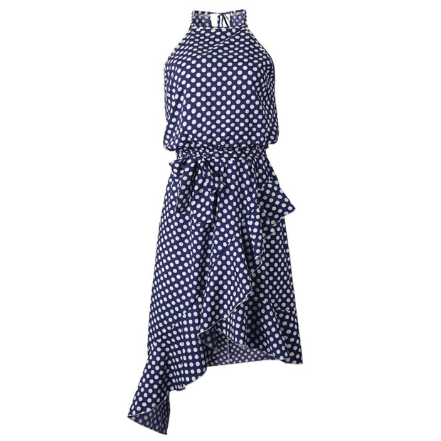 Halter Boho Bow Belt Dot Dress