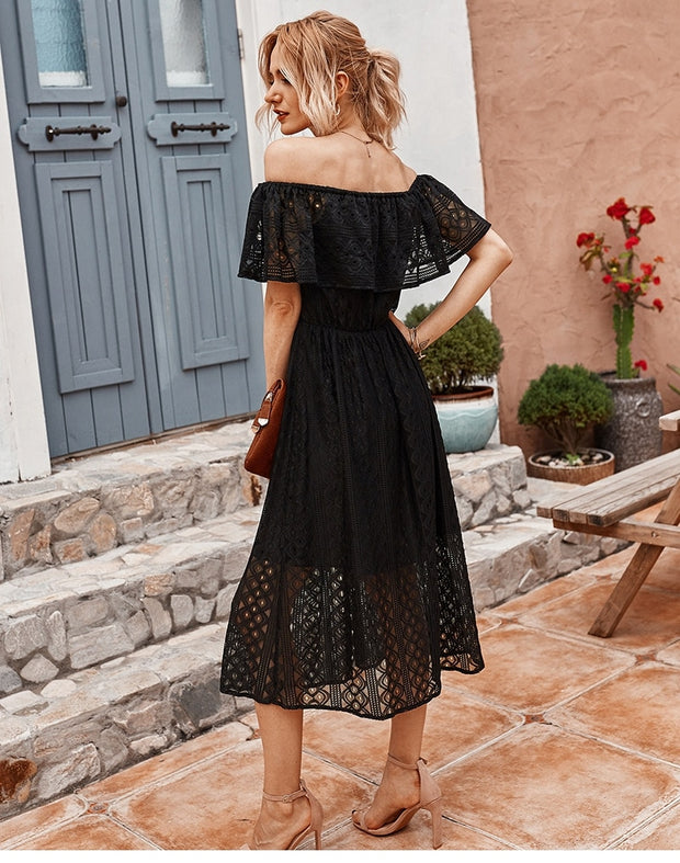 Off The Shoulder Mid-Calf Dress