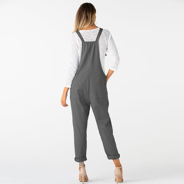 Loose Dungarees Pocket Jumpsuit