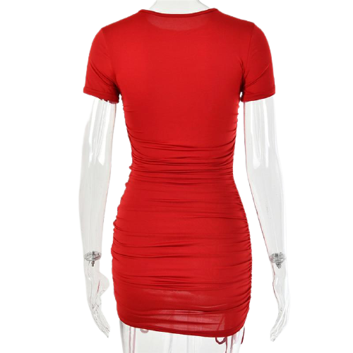 Ruched Pleated Bodycon Dress