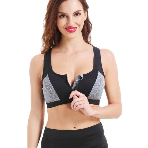 Zipper Push Up Athletic Vest Bra