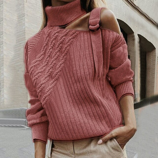 Sexy Shoulder Turtleneck Sweater