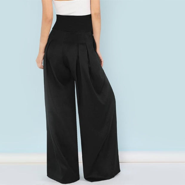 Trendy Bow Knit Pleated Elegant Palazzo Pants