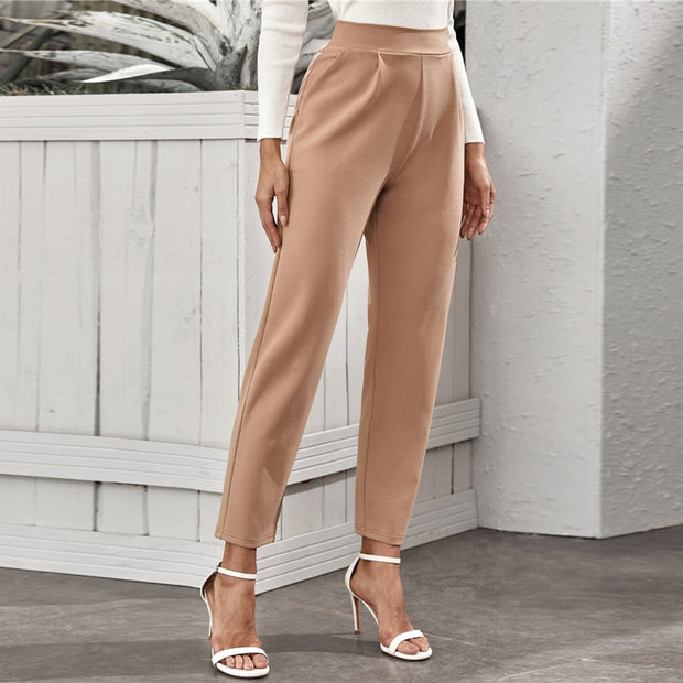 Office Ladies Elastic Waist Elegant Long Trousers