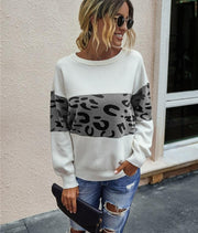 Knitted Leopard Round Neck Sweater