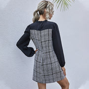Plaid Patchwork Bow Collar Dress