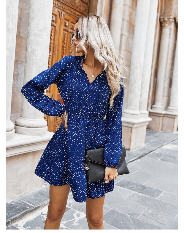 Full Sleeve Polka Dot Print Dress