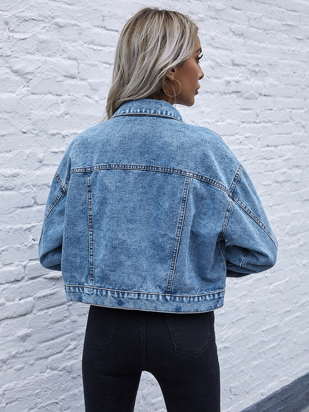 Drop Shoulder Washed Denim Jacket