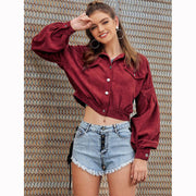Corduroy Short Basic Cropped Jacket