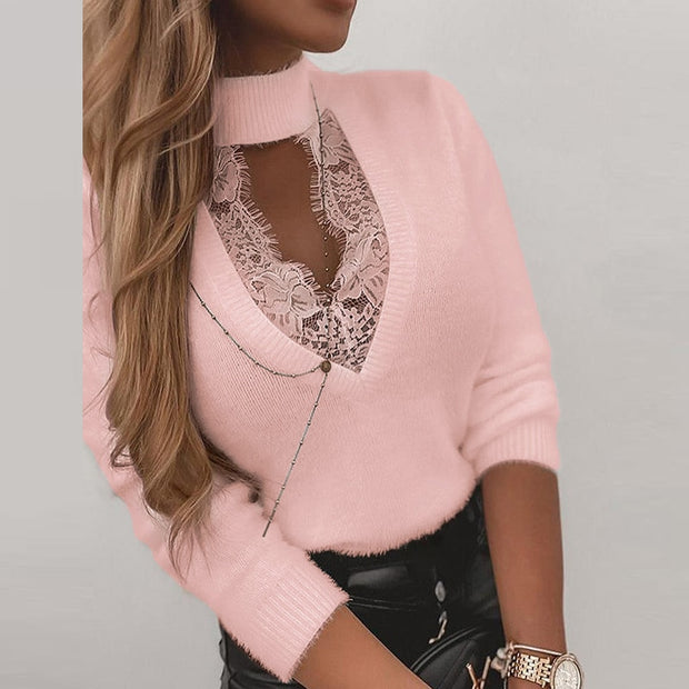 Elegant Fleece Neck Chain Blouse