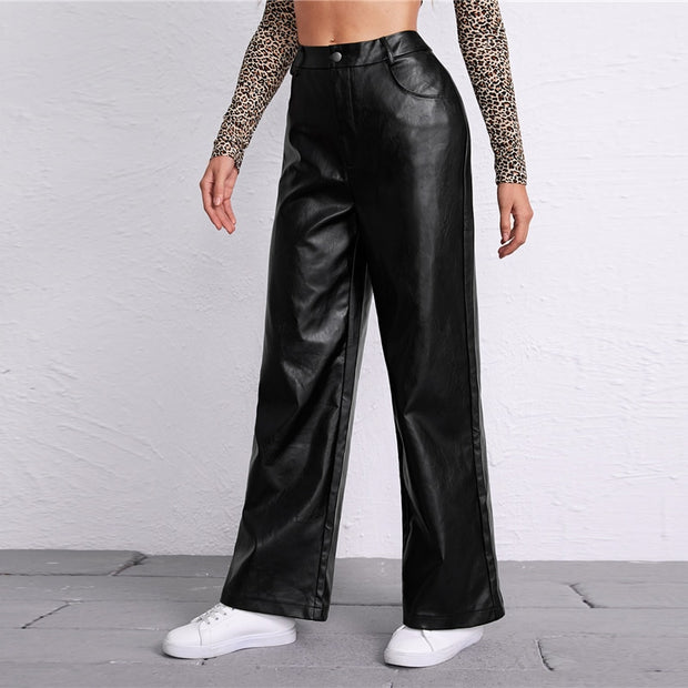 Black PU Leather Palazzo Pants