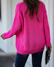 Boho Oversize Splice Neck Sweater