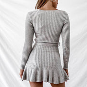 Knitted Ruffle Strechy Ribbed Dress