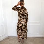 Leopard A-line Sexy Chiffon Long Dress