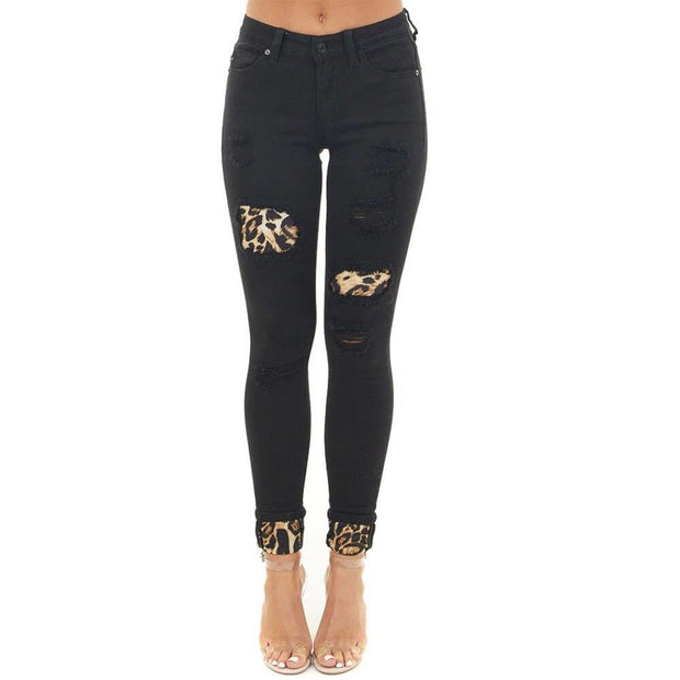All Match Leopard Printed Hole Jeans
