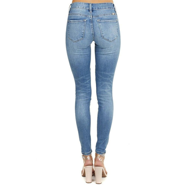 Thin Blue Hole Stitching Butt Jeans