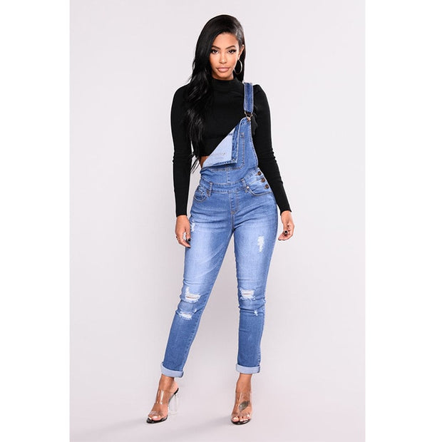 Hole Suspenders Pencil Overall Jeans