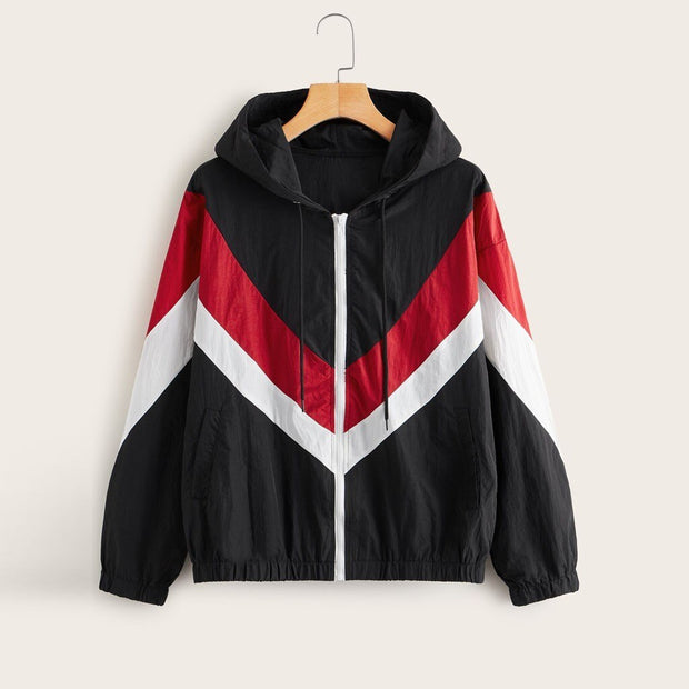 Zip Stitching Outwear Windbreaker Jacket