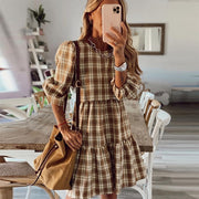 Big Hem Ruffle Houndstooth Dress