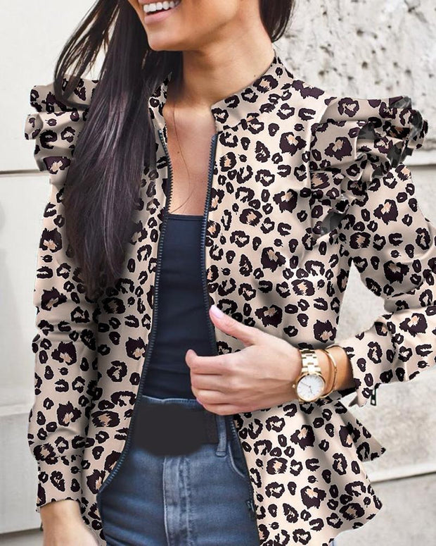 Ruffle Zipper Bomber Ladies Jackets