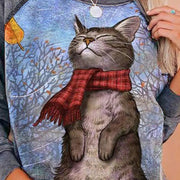 Scarf Kitty Print Pullover