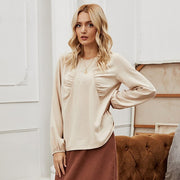 Ruched Loose Round Neck Blouse