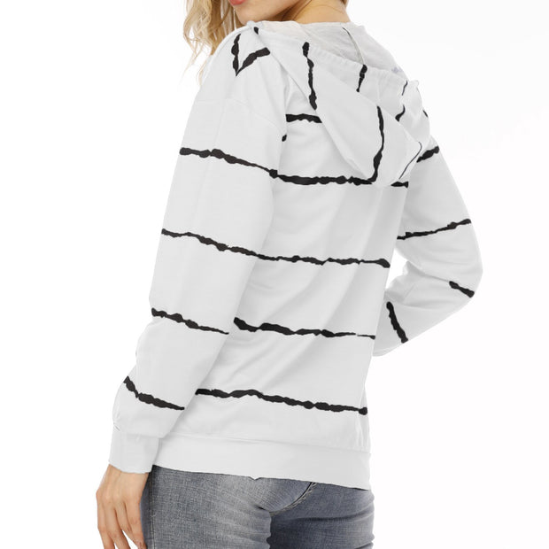 Fashion Zipper Stripe Pocket Hoodie